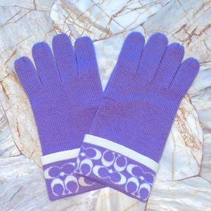 COACH Signature  Lilac Purple Wool Touch Gloves